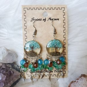 Jewelry - Boho Tree of Life Earrings Blue